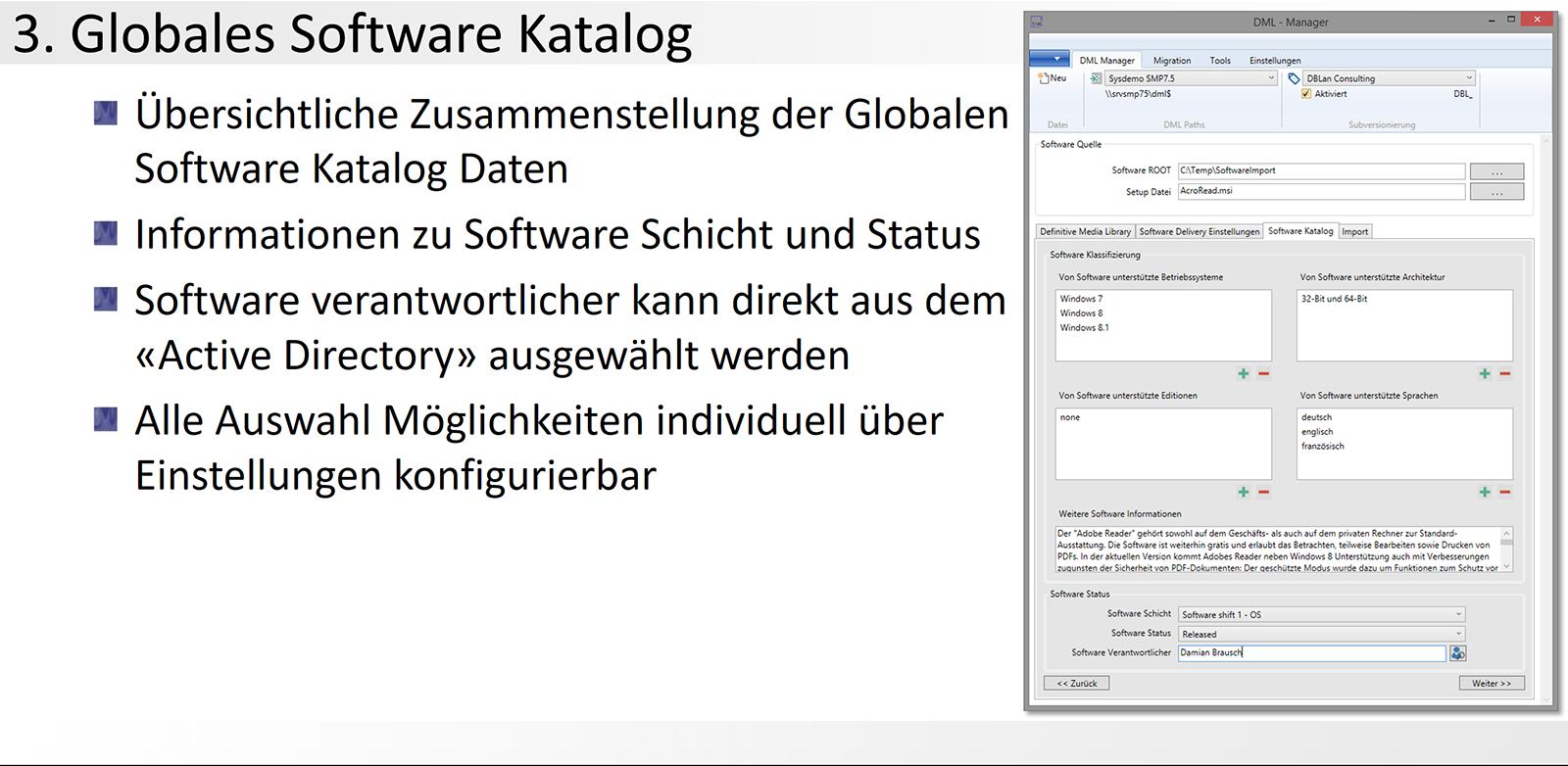 3. DML-Manager - Globales Software Katalog