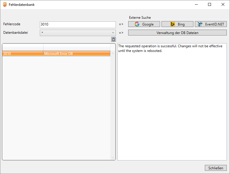 9.1. DML-Manager Tools - Fehlerdatenbank